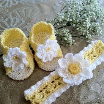 Daisy Headband & Booties Crochet Pattern PDF12-024
